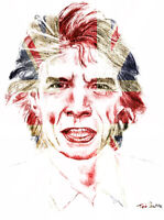 Sir Mick Jagger of the Rolling Stones with UK Flag - Print on Canvas. 20x27 in