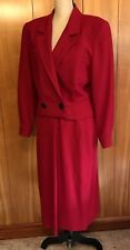 Vintage Wool Skirt Suit Womens Cropped Jacket Blazer Two Piece Red 1980s Sz 8