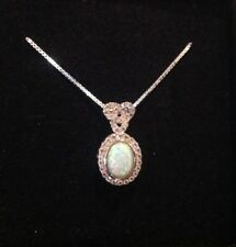 Eternal Love knot Fire Opal and CZ sparkling Pendant Necklace Sterling Silver