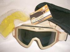 Gafas para airsoft con 3 lentes y funda de color Negras Black militares Nuevas