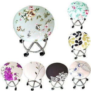 Stretchy Solid Floral Bar Stool Round Cover Room Dining Chair Seat Slipcovers