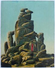 Science Fiction painting of stone & woman by the late Robert E. Gilbert (REG)