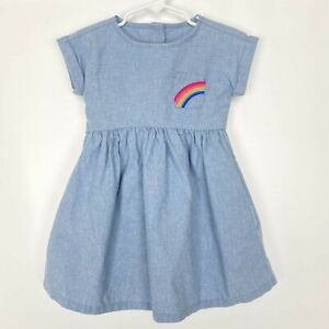 Gymboree Girls Toddler Rainbow Pocket Denim Dress Size 2T Blue Short Sleeve
