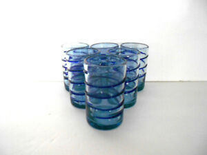 6 Mexican 8 oz Glasses Clear With Cobalt Blue Spiral Hand Blown Pontil