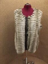 Classy Iman Platinum NEW NWT Gray Long Hair Faux Fur Vest Faux Leather Trim 3X