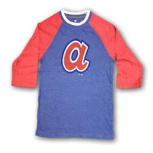 Atlanta Braves Majestic MLB Men's 3/4's Long Sleeve Blue/Red T-shirt