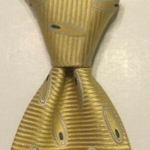 ERMENEGILDO ZEGNA Mens 100% Silk Necktie ITALY Luxury Geometric Yellow/White GUC