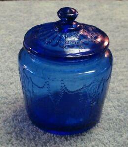 Vintage Cracker Jar w/ Lid Jennifer Miniatures Cobalt Blue Jar by MOSSER (OHIO)