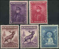 Mint Canada Newfoundland 1932-1937 4c - 6c F+ Scott #188-192 (5) Stamps Hinged