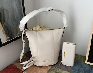Michael Kors Brooke Medium Zip Bucket Messenger Bag + Wallet New with Tags