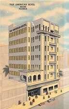 Miami Florida Pan American Hotel Art Deco Linen Antique Postcard J51328