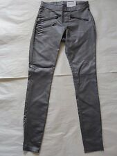 NWT $54 Hue Women Zippered Glossy Denim Leggings U15571 Sz S Graphite