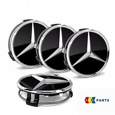 NEW GENUINE MERCEDES WHEEL CENTER HUB CAP BLACK CHROME COVER SET 4PCS B66470200