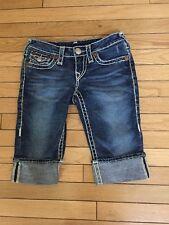 True Religion Sophie Super T  Blue Jean Denim Bermuda Shorts Size 25