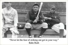 NEVER LET FEAR BASEBALL SPORT QUOTE TYPOGRAPHY BABE RUTH POSTER QU301A