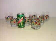 8 Highball Vintage Mid Century Drinking Glasses red, Blue, Green Dots Gold Swirl