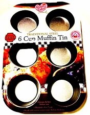 2 X Queen Of cake Non-Stick 6 Cup Muffin Pan Metal CupCake Baking Pans Tray.