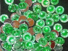 10 green sew on stich on 12mm jewel  CRYSTAL RHINESTONE trim Bead DANCE