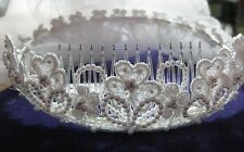 Flower Girl or Communion White Headpiece & 2 Tier Veil - Nan & Jan 4517