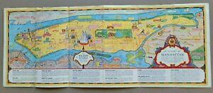 C.1937 CHART CARTOON MAP OF MANHATTAN NEW YORK CITY AD. BY WALDORF ASTORIA HOTEL