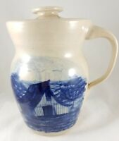 Vintage PAUL STORIE Pottery BLUE BARN Design Stoneware Pitcher With Lid