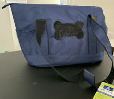 Top Paw Pet Tote For Small Dogs New - Navy Canvas with Cheetah Print Interior
