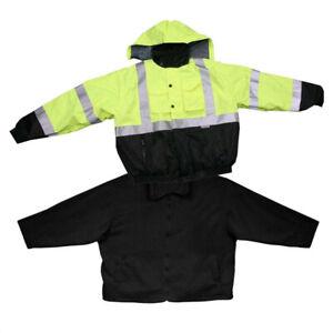Hi-Vis Class 3 Safety Jacket Reflective Winter Coat Removable Black Fleece Liner