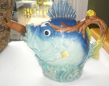 Royal Doulton Minton Fish  Teapot Majolica Numbered Limited Edition
