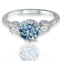 Brilliant Simulated Aquamarine 3 Halo Sterling Silver Engagement Ring 2.17 Ctw