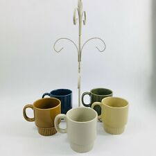 5 Mid Century Modern Coffee Cup Mug Vintage Retro Stacking Style With Rack Japan
