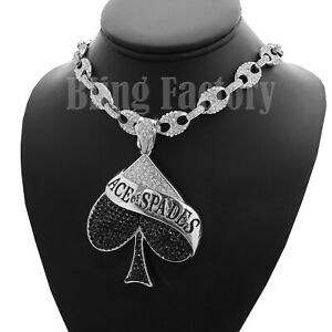 Ace of Spades  /& Crossed Guitar Pendant Necklace Heavy Metal Jewelry on Black Cord in Brass Copper or Aluminium