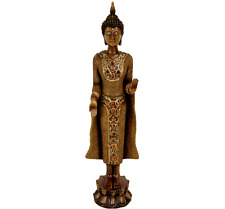 "20"" Standing Thai Buddha Sculpture Heavy Resin Figurine Statue Decor Statuette"