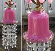 Chandelier Lamp SWAG Vintage rose Pink bubble glass Brass Crystal prism light