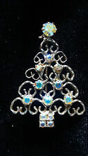 Vintage Gold Tone Prong Set AB Rhinestone Christmas Tree Brooch Pin
