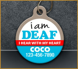 I Am Deaf - Pet ID Tag - Custom Medical Personalized ID tag for Deaf Dog or Cat