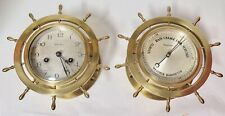 .Antique Waterbury U.S.A Heavy Brass Ships Wheel Clock & Barometer Set