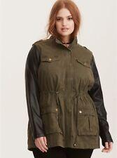 TORRID (3X  22-24 ) Mixed Fabric Anorak Military jacket Army Green Drawstrings