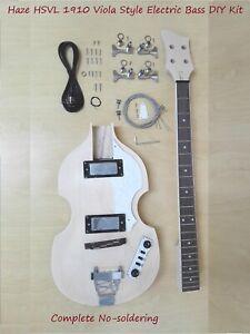 Haze HSVL 1910 Electric Bass Guitar DIY Kit, Complete No-Soldering, H-H Pickups