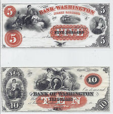 1800s US Obsolete Currency Lot of 2, $5 & $10, Uncirculated, Bank of Washington