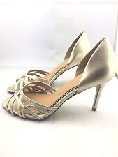 Badgley Mischka Women's Open Toe Strappy Heeled Gold Leather Sandal sz 6 *ns5/15