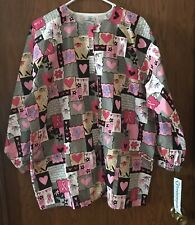 White Swan M Scrub WARM UP Jacket Pink/Black print SNAPS breast cancer Ribbon