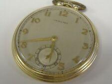 VINTAGE 14 K  SOLID GOLD HAMILTON POCKET WATCH 917 GRADE 17 JEWELS,, keeps time