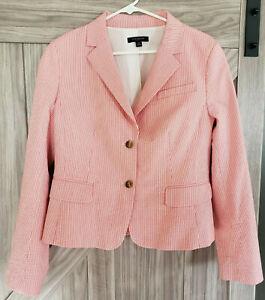 Ann Taylor Seersucker Pink & White Striped Buttoned Jacket Blazer Sz 12