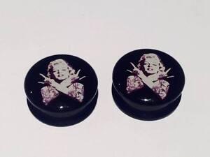 Pair Punk Marilyn Monroe Ear Plugs Flesh Tunnel Tunnels Taper Stretcher 6-30mm