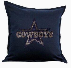 """Dallas Cowboys Cover Sofa Throw Pillow Case 18""""X18"""" Chair Couch Rhinestone"""