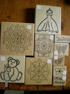 Lovely Selection of Wooden Backed Rubber Stamps. Choice of 10.