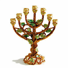 Handmade Menorah Rose tree Candle holder Real 24k Gold plated Judaica Israel
