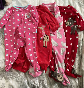 Carters Girls Long Sleeve Pajamas-4 Total- 6 Months