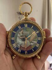 New listing Vintage Hand Painted Enamal Imhof Swiss Travel Clock ~15 Jewel movement.