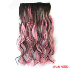Colorful Clip in on Hair Extensions Ombre Synthetic 3/4 Full Head Wavy HairPiece